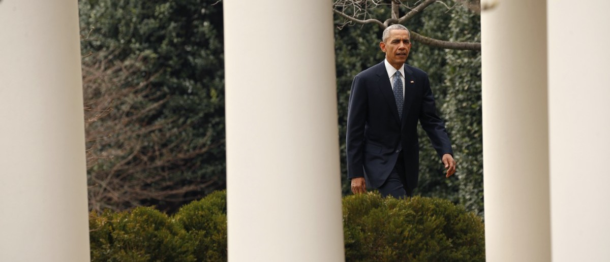 President Barack Obama walks back to the Oval Office after participating in a joint press conference with Canadian Prime Minister Justin Trudeau (not pictured) in the Rose Garden at the White House in Washington March 10, 2016. (REUTERS/Kevin Lamarque)