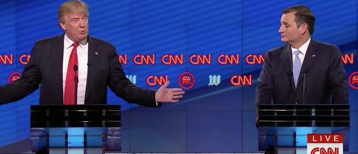 Donald Trump and Ted Cruz, Screen Shot CNN, 3-10-2016