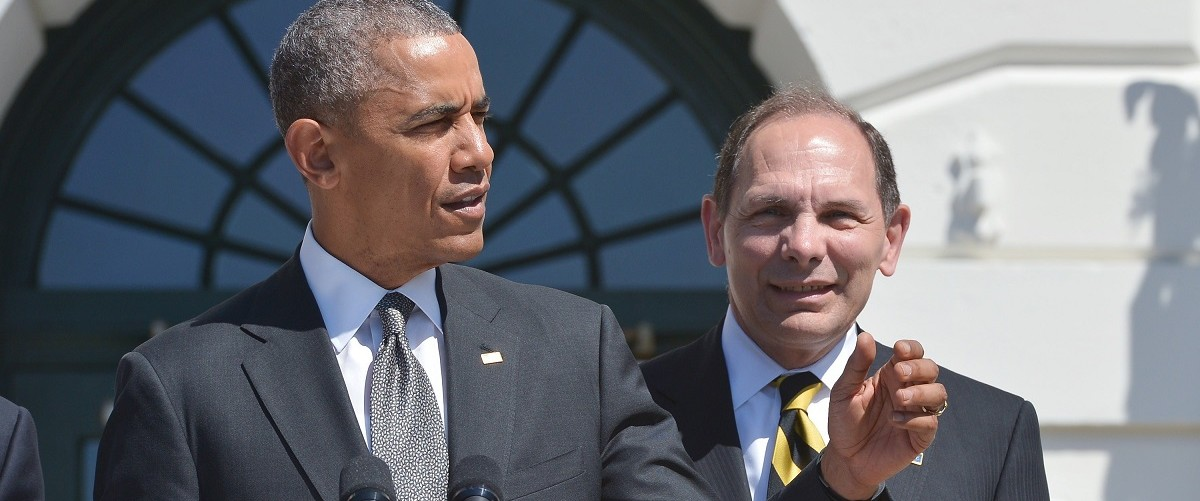 US President Barack Obama speaks  next to Veterans Affairs Secretary Robert McDonald at an event to welcome the Wounded Warrior Projects Soldier Ride on the South Lawn of the White House on April 16, 2015 in Washington, DC (MANDEL NGAN/AFP/Getty Images)