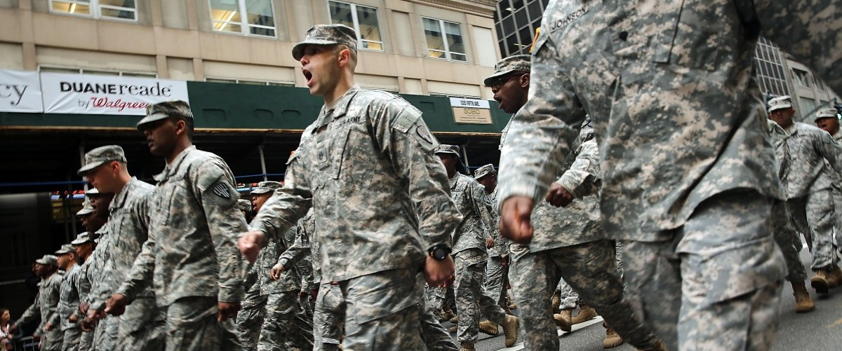 Members of the U.S. Army march in the the nation's largest Veterans Day Parade in New York City on November 11, 2015 in New York City. Known as 'America's Parade' it features over 20,000 participants, including veterans of numerous eras, military units, businesses and high school bands and civic and youth groups. Spencer Platt/Getty Images.