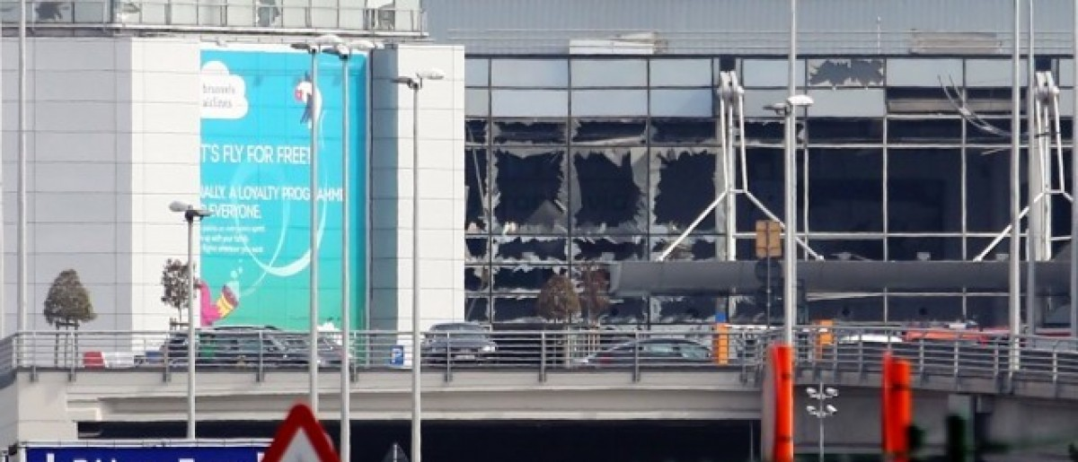 A view of bomb damage as passengers are evacuated from Zaventem Bruxelles International Airport after a terrorist attack. (Photo: Sylvain Lefevre/Getty Images)