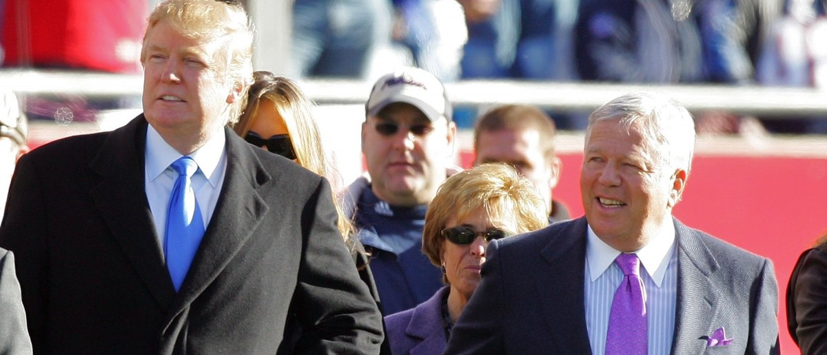FOXBORO, MA - JANUARY 07: (L-R) Donald Trump and owner of the New England Patriots Robert Kraft stand on the sidelines before the AFC Wild Card Playoff Game against the New York Jets at Gillette Stadium on January 7, 2007 in Foxboro, Massachusetts. (Photo by Jim McIsaac/Getty Images)
