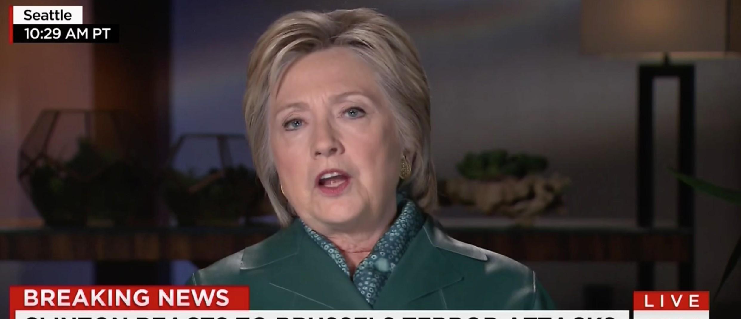 Hillary Clinton, Screen Shot CNN, 3-22-2016