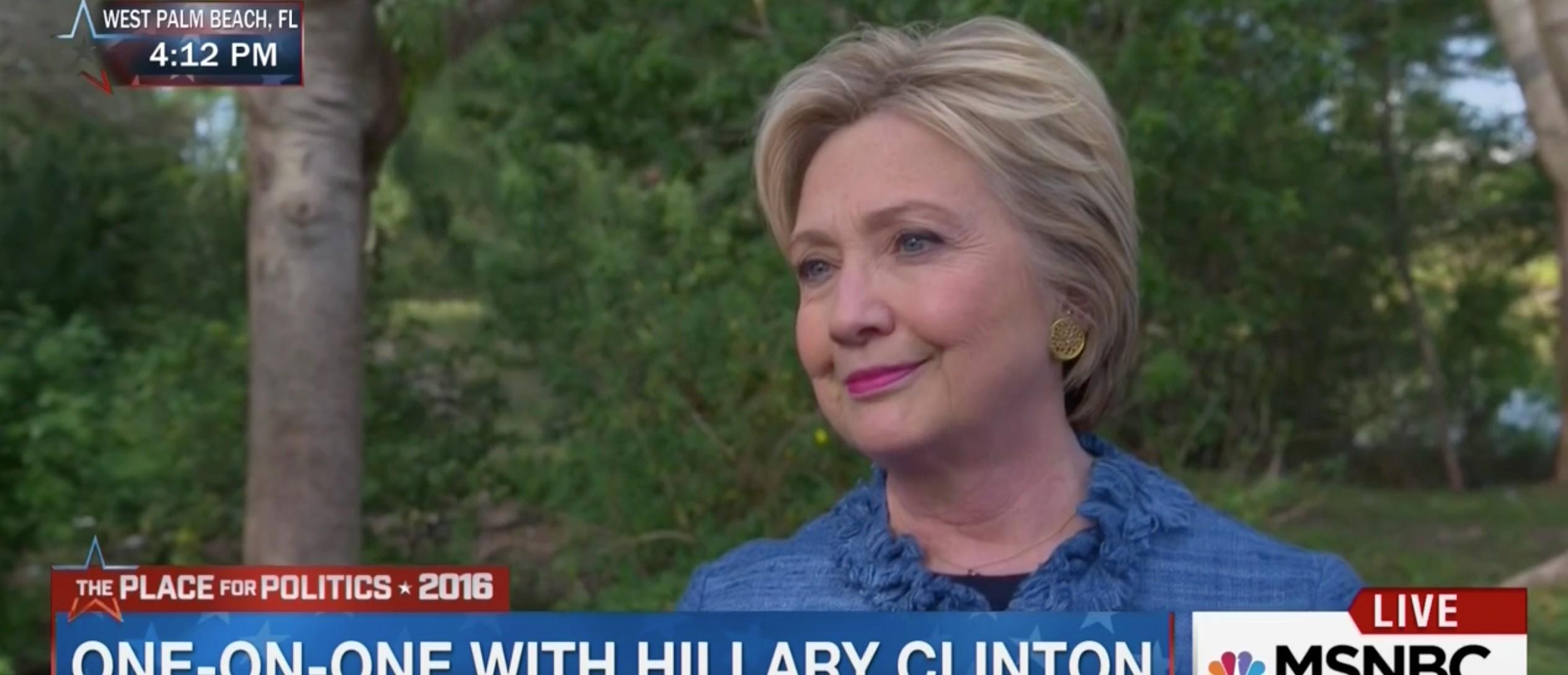 Hillary Clinton, Screen Shot MSNBC, 3-15-2016