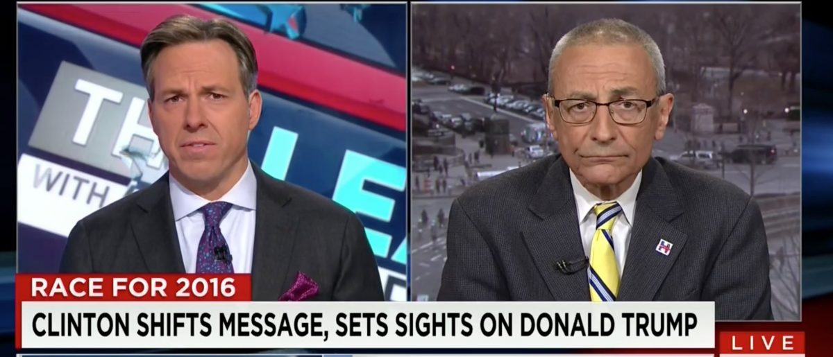 Jake Tapper, John Podesta, Screen shot CNN 3-1-2016