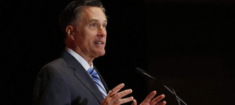 Former Republican presidential nominee Mitt Romney speaks critically about current Republican presidential candidate Donald Trump and the state of the 2016 Republican presidential campaign during a speech at the Hinckley Institute of Politics at the University of Utah in Salt Lake City
