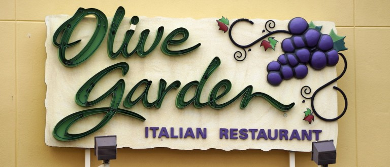 The sign outside the Olive Garden restaurant is seen in Westminster