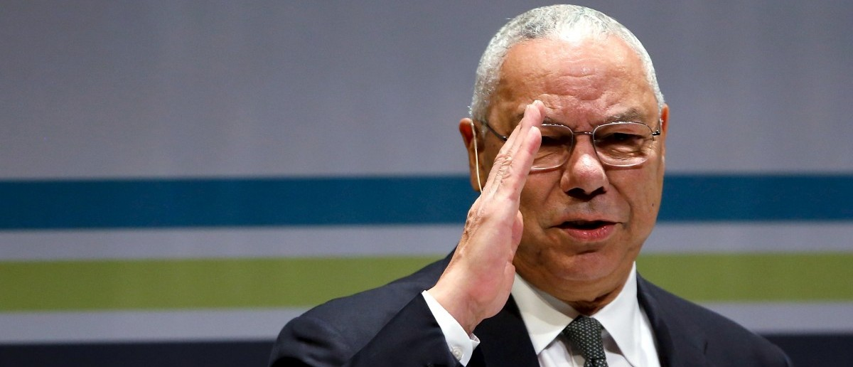Former U.S. Secretary of State Colin Powell salutes the audience. REUTERS/Jonathan Ernst