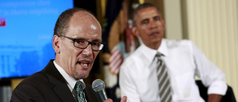 U.S. President Barack Obama listens to Labor Secretary Thomas Perez (REUTERS/Kevin Lamarque)