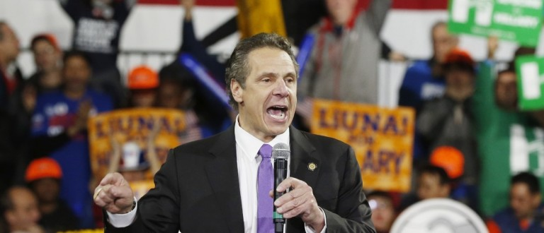 Gov. Andrew Cuomo says something to the left (REUTERS/Lucas Jackson)