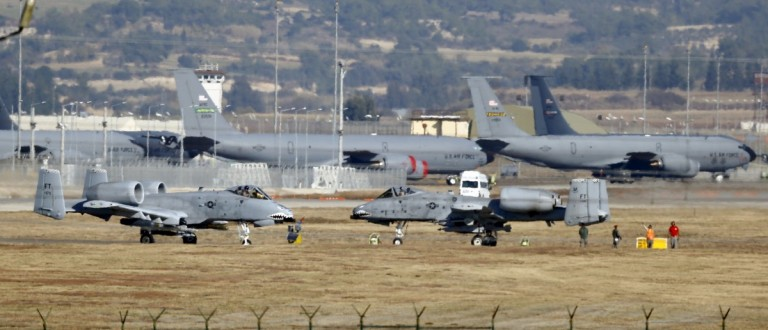U.S. Air Force A-10 Thunderbolt II fighter jets (foreground) are pictured at Incirlik airbase in the southern city of Adana, Turkey, in this December 11, 2015 file photo. REUTERS/Umit Bektas/Files