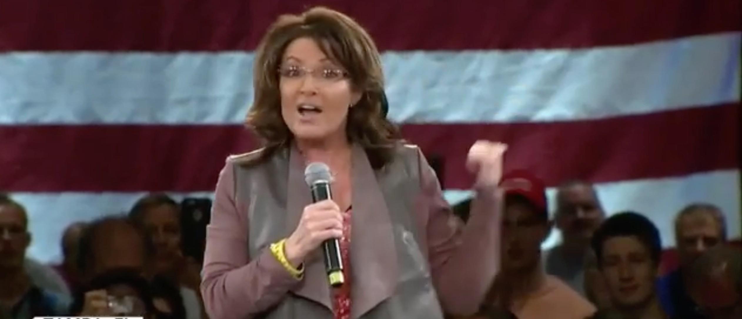 Sarah Palin, Screen Shot CBS Twitter, 3-14-2016