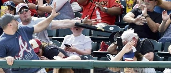Flying Bat Threatens To Murder Kid's Face, Heroic MLB Fan Says 'Not Today' (Twitter)
