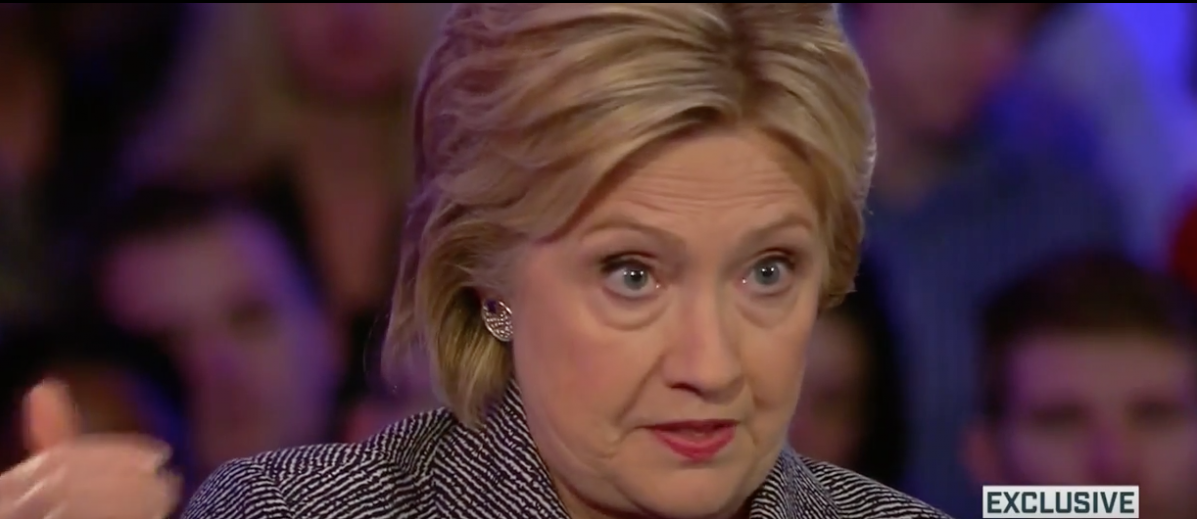 Hillary Clinton town hall, MSNBC, March 14, 2016. (Youtube screen grab)
