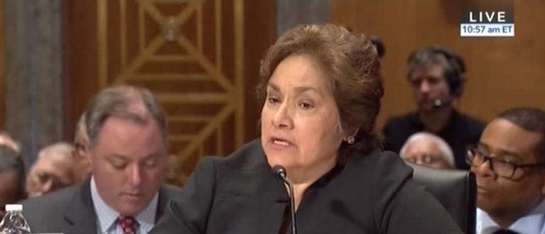 ICE director Sarah Saldana testifies at a Senate Homeland Security Committee hearing, March 15, 2016. (Youtube screen grab)
