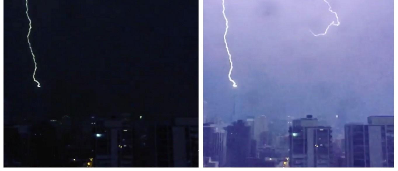 Lightning Trikes Trump Tower The Moment Donald Won Illinois Primary (screenshots: Instgram)