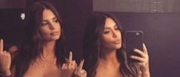 Kim Kardashian and Emily Ratajkowski topless