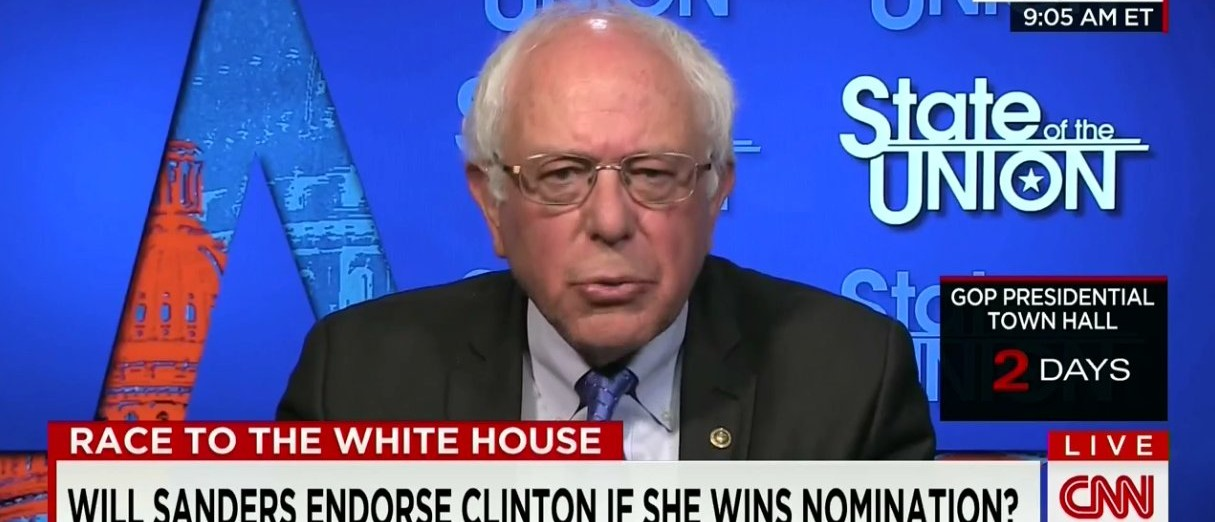 Sanders Won't Commit To Supporting Hillary (CNN)