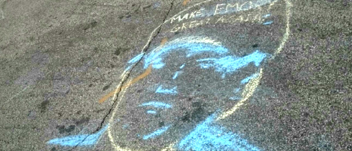 Trump chalking deux at Emory courtesy of Inside Higher Ed