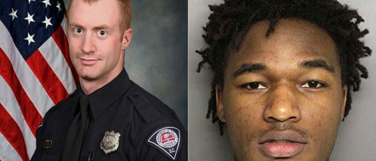 Greenville Police Officer Allen Jacobs, left; Deontea Perry Mackey, right, is the suspect. (Greenville Police Department)