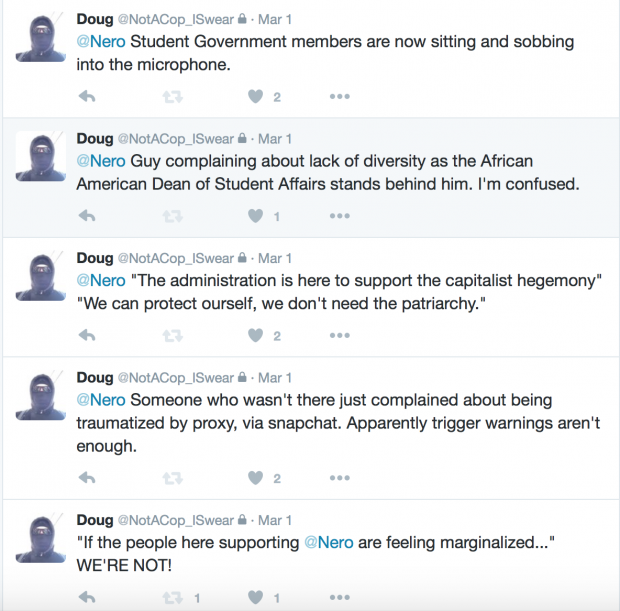 Doug Steeber's tweets of a Pitt student government meeting [Doug Steeber]