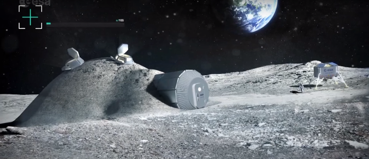 "Screenshot from European Space Agency video annoucing the ""Moon Villiage"" concept on Youtube (Screenshot ESA/Youtube)"