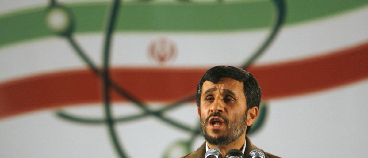Iran's President Mahmoud Ahmadinejad speaks during a ceremony at the Natanz nuclear enrichment facility, 350 km (217 miles) south of Tehran, April 9, 2007. Iran announced on Monday it had begun industrial-scale nuclear fuel production in a fresh snub to the U.N. Security Council, which has imposed two rounds of sanctions on it for refusing to halt such work. REUTERS/Caren Firouz (IRAN)