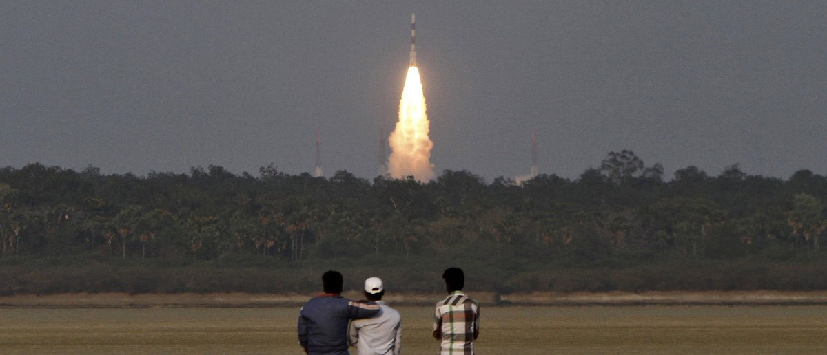 India's Polar Satellite Launch Vehicle (PSLV-C24), carrying the second navigation satellite of the Indian Regional Navigation Satellite System IRNSS-1B, lifts off from the Satish Dhawan Space Centre in Sriharikota, about 100 km (62 miles) north of the southern Indian city of Chennai April 4, 2014. REUTERS/Babu