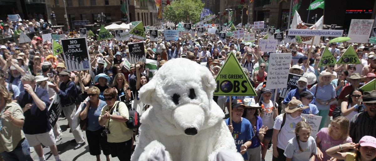 """A man dressed as a polar bear stands ot the front of thousands of protesters at the """"Walk Against Warming"""" march through the streets of central Sydney December 12, 2009. Thousands took to the streets of Australia's main cities on Saturday at the start of an international day of action to pressure the U.N. conference in Copenhagen for strong action on climate change, organisers said. REUTERS/Tim Wimborne"""