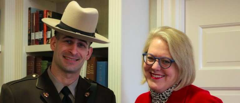 Maryland State Trooper Stephen Hallman and Ginni Thomas (Katie Frates/The Daily Caller News Foundation)