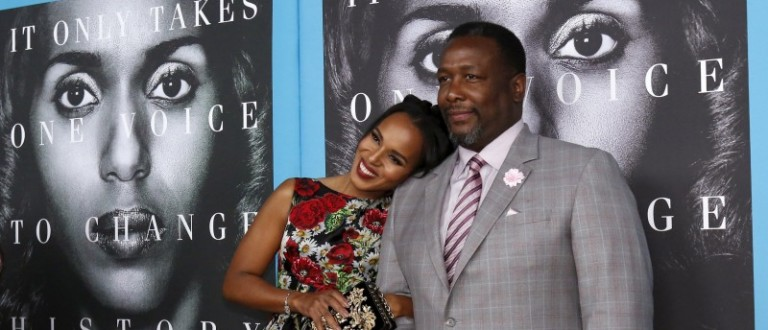 """Cast members Washington and Pierce pose at the premiere for the television movie """"Confirmation"""" in Los Angeles"""