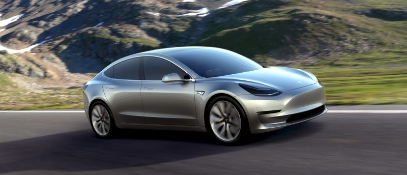 Handout of Tesla Motors' mass-market Model 3 electric cars