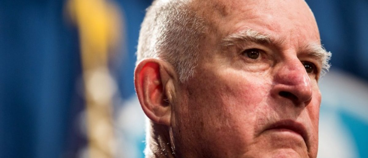 California Governor Jerry Brown looks on during a news conference at the State Capitol in Sacramento, California in this file photo taken March 19, 2015. REUTERS/Max Whittaker/Files