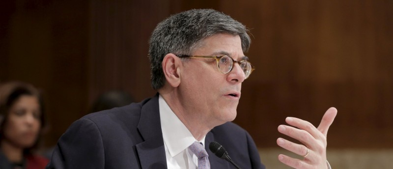 Treasury Secretary Jack Lew testifies at a Senate Appropriations Subcommittee hearing on the FY2017 budget for the Treasury Department on Capitol Hill