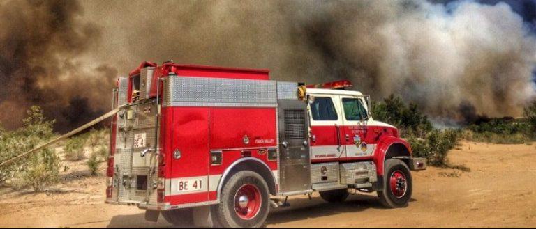 Handout photo of wildfire burning at the Arizona-California border