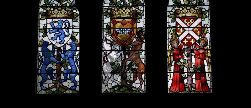 Light comes through stained glass windows at Mount Stuart where a Shakespeare First Folio has been discovered nearly 400 years after his death, on the Isle of Bute, Scotland, Britain