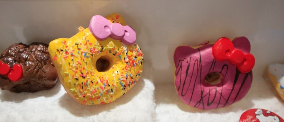 Doughnuts are seen in China's first official Hello Kitty-themed restaurant in Shanghai. REUTERS/Aly Song