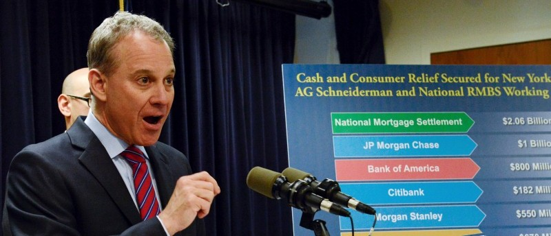 Attorney General Eric Schneiderman speaks at a news conference in the Manhattan borough in New York