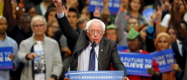 Democratic U.S. presidential candidate Bernie Sanders gestures as he speaks about the terror attack in Brussels during a campaign rally in San Diego