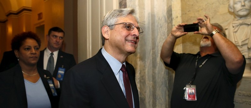 U.S. Supreme Court nominee Judge Merrick Garland walks after a breakfast with Senate Judiciary Committee Chair Senator Chuck Grassley (R-IA) on Capitol Hill Washington