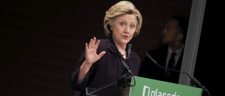 Democratic presidential candidate Hillary Clinton speaks during a Glassdoor Pay Equality Roundtable in New York, April 12, 2016
