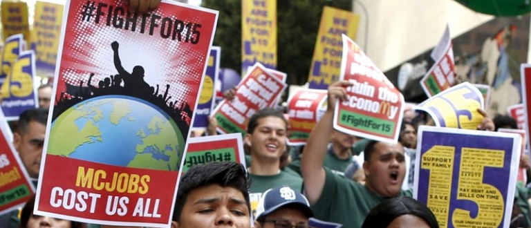 People protest for a $15-an-hour nationwide minimum wage in Los Angeles