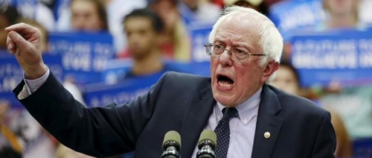 Democratic U.S. presidential candidate Bernie Sanders speaks on the campus of Penn State University in State College
