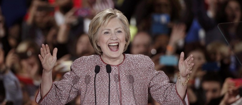 Democratic presidential candidate Hillary Clinton arrives onstage at her New York presidential primary night rally in New York