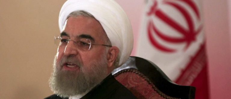 Iranian President Hassan Rouhani speaks during a news conference in Islamabad