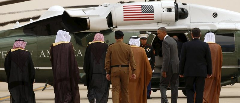 U.S. President Barack Obama walks toward Marine One upon his arrival at King Khalid International Airport for a summit meeting in Riyadh