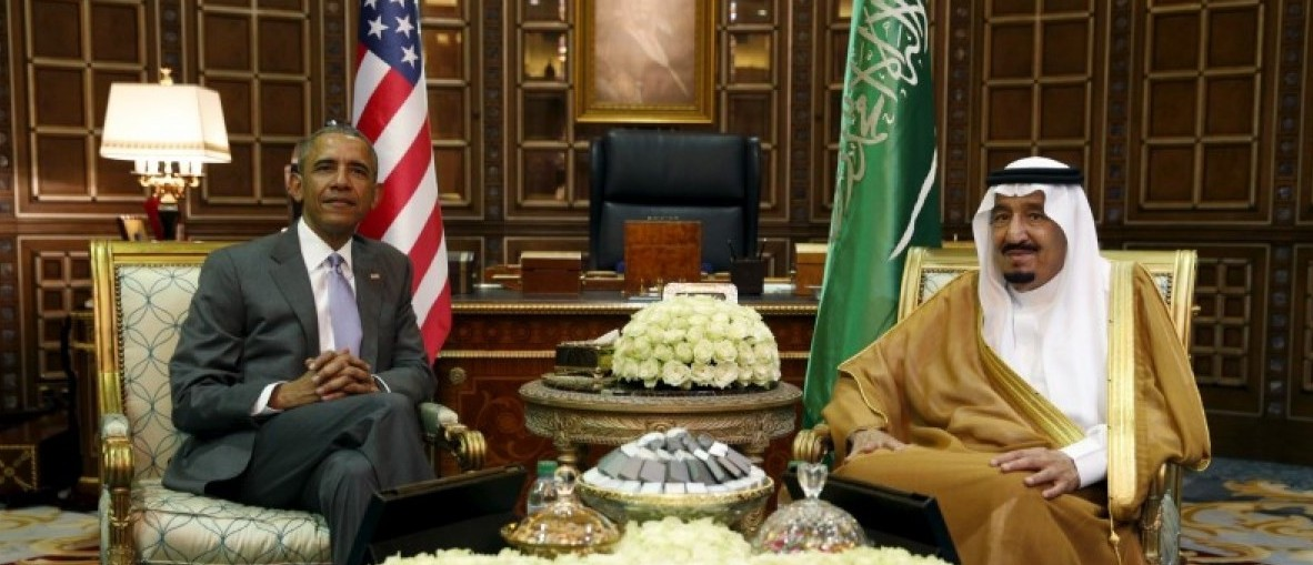 U.S. President Barack Obama meets with Saudi King Salman at Erga Palace upon his arrival for a summit meeting in Riyadh