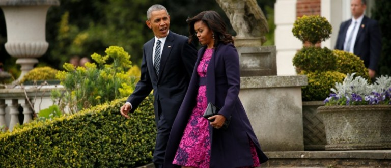 U.S. President Barack Obama and first lady Michelle Obama depart Winfield House in London to have lunch with Queen Elizabeth II at Windsor Castle