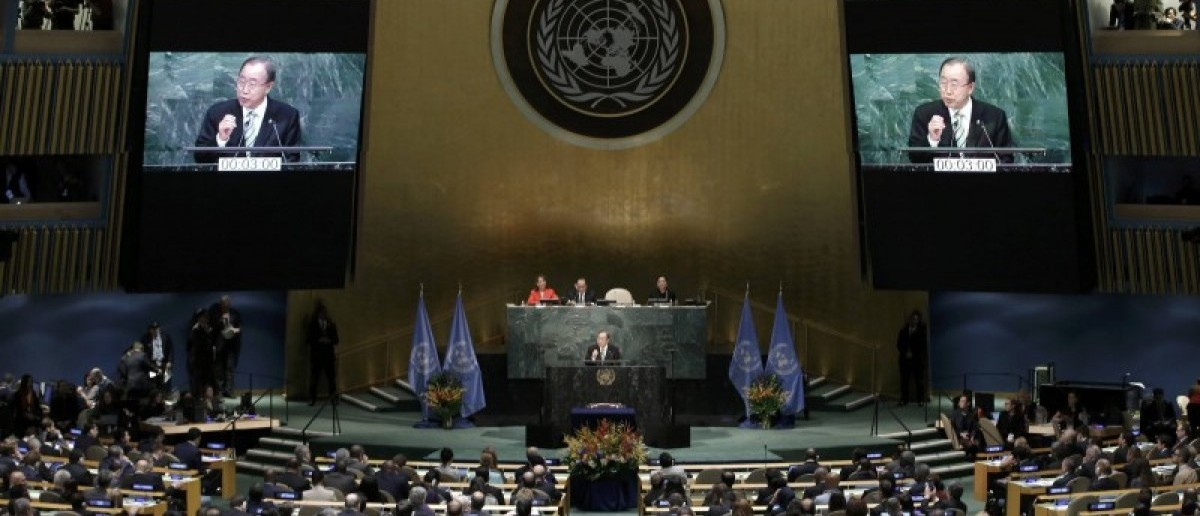 Ban Ki-moon, Secretary-General of the United Nations, delivers his opening remarks at the Paris Agreement signing ceremony on climate change at the United Nations Headquarters in Manhattan, New York, U.S., April 22, 2016.