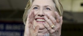 U.S. Democratic presidential candidate Hillary Clinton applauds after speaking during a campaign rally in Central Falls, Rhode Island, April 23, 2016.     REUTERS/Mary Schwalm